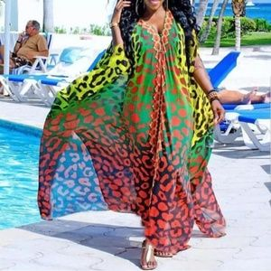Sexy Beach Long Dresses Casual Leopard Split